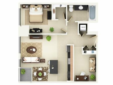 One Bedroom One Bathroom Floor Plan A6