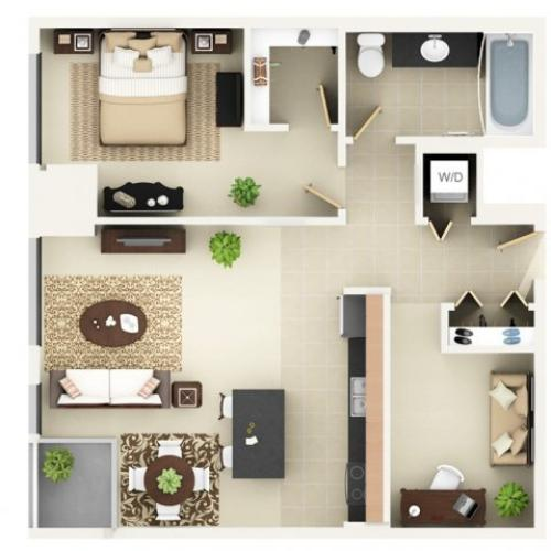 One Bedroom One Bathroom Floor Plan A6