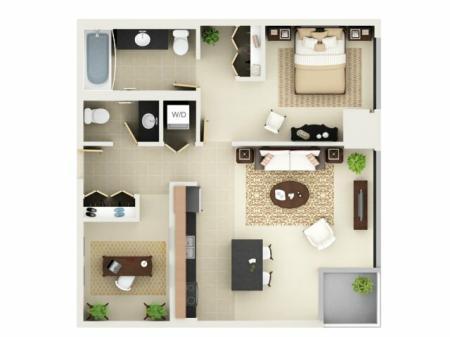 One Bedroom One Bathroom Floor Plan A7