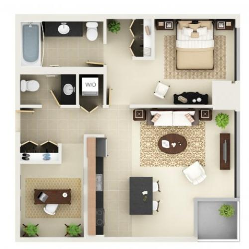 One Bedroom One Bathroom Floor Plan A7