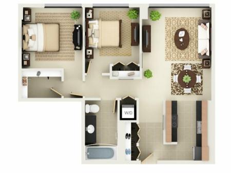 Two Bedroom One Bathroom Floor Plan B1