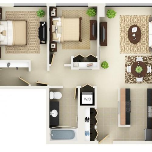 Two Bedroom One Bathroom Floor Plan B1