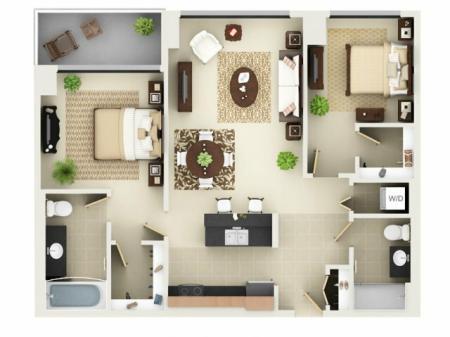 Two Bedroom Two Bathroom Floor Plan B2