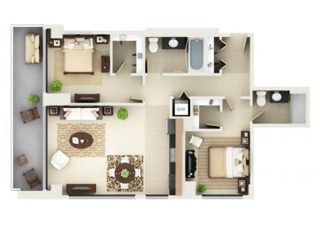 Two Bedroom Two Bathroom Floor Plan B3
