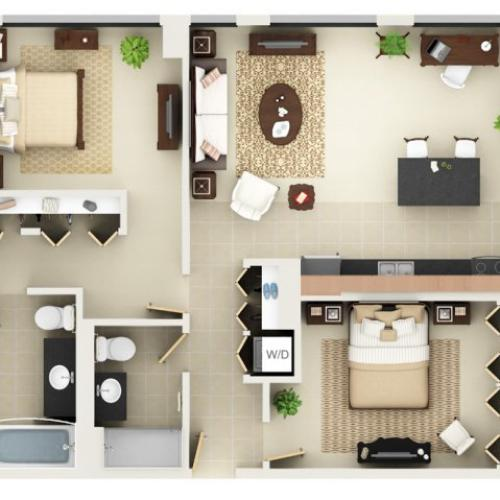 Two Bedroom Two Bathroom Floor Plan B4