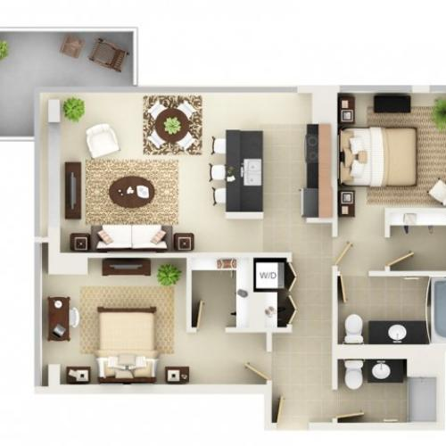 Two Bedroom Two Bathroom Floor Plan B5