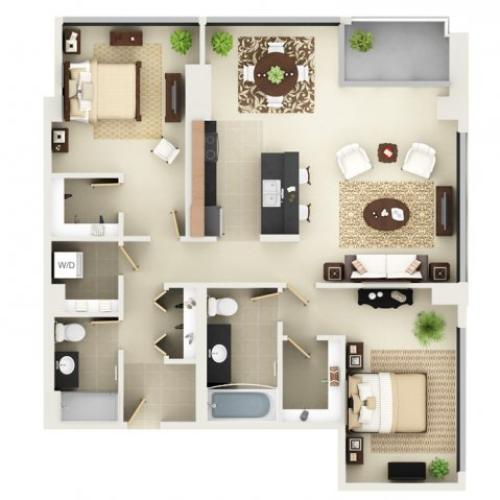 Two Bedroom Two Bathroom Floor Plan B6