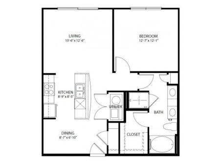One bedroom, one bathroom, one walk in closet, laundry room, hvac room, pantry, living room, kitchen A2- 3 floor plan, 783 square feet.