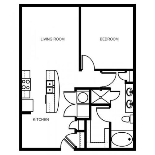 One bedroom, one bathroom, one walk in closet, laundry room, hvac room, pantry, living room, kitchen A2- 1 floor plan, 796 square feet