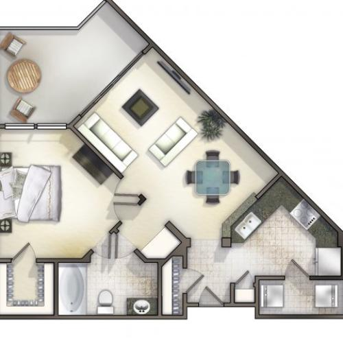 A1 one bed, one bath with large terrace and closet space