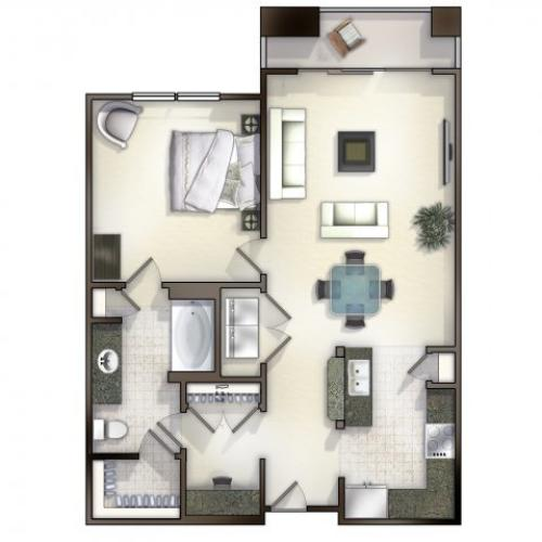 A2 one bed, one bath with kitchen island, balcony and large closet space