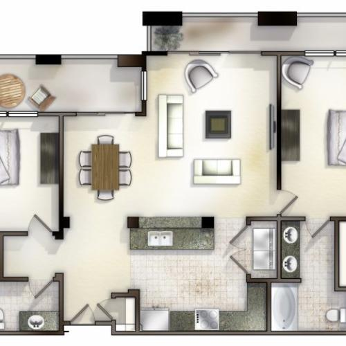 B2 two bed, two bath with attached balcony and large open concept living room