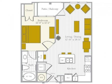 Floor Plan 1 | Flower Mound TX Apartments | Park Central at Flower Mound