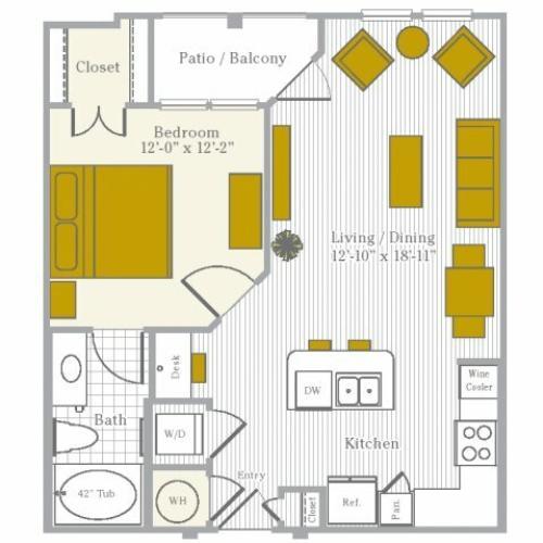 Floor Plan 1 | Flower Mound TX Apartments | Park Central at Flower Mound