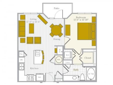 Floor Plan 2 | Flower Mound TX Apartments | Park Central at Flower Mound