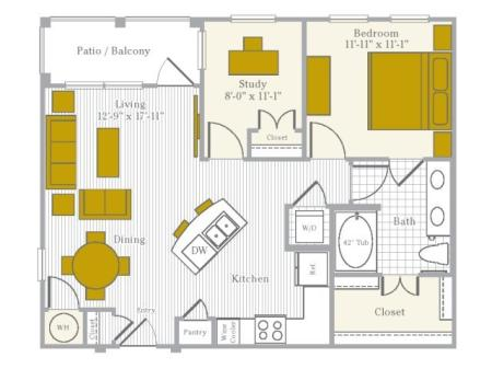 Floor Plan 4 | Flower Mound TX Apartments | Park Central at Flower Mound