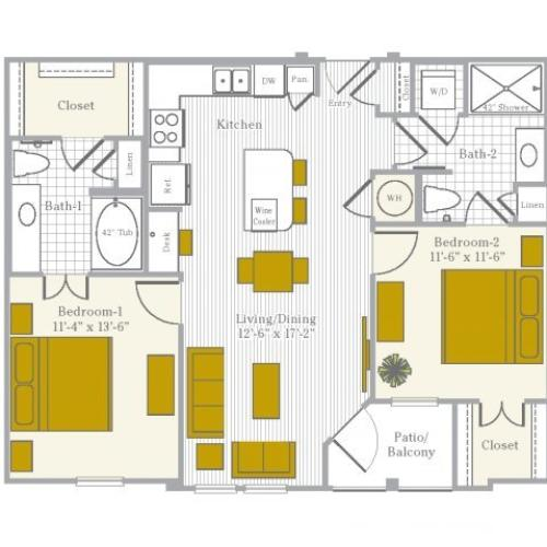 Floor Plan 5 | Flower Mound TX Apartments | Park Central at Flower Mound