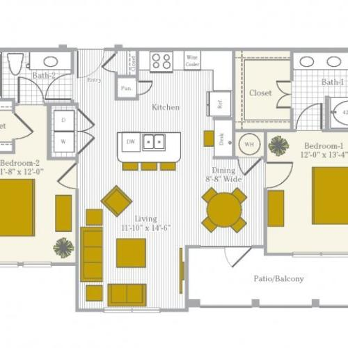 Floor Plan 6 | Flower Mound TX Apartments | Park Central at Flower Mound