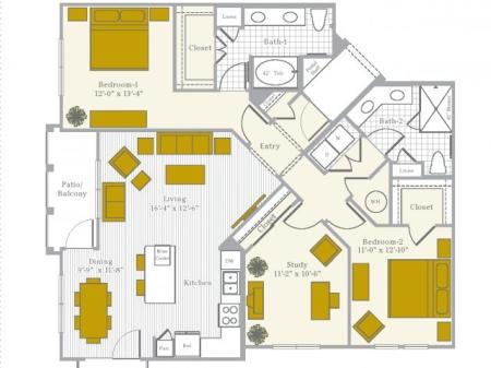 Floor Plan 7 | Flower Mound TX Apartments | Park Central at Flower Mound