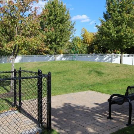 Fenced dog park with gate, bench and ample green space with trees for dogs to play