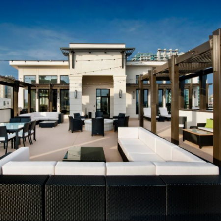 Outdoor rooftop amenity with firepit and ample soft seating