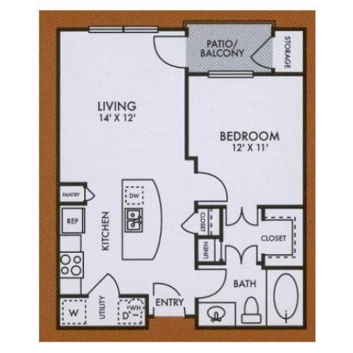 A1 one bed, one bath with kitchen island, walk in closet and patio/balcony