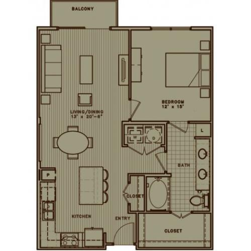 A5 one bedroom with large living room and attached balcony