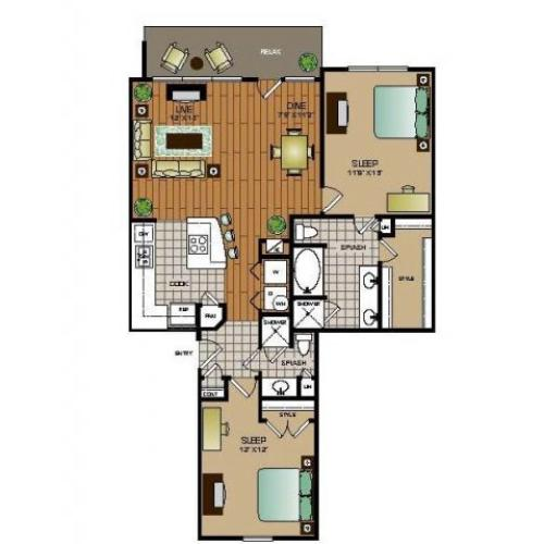 Two bedroom, two bathroom townhome,kitchen, pantry, coat closet, living room, dining room, two walk in closets, linen closet and patio and laundry room