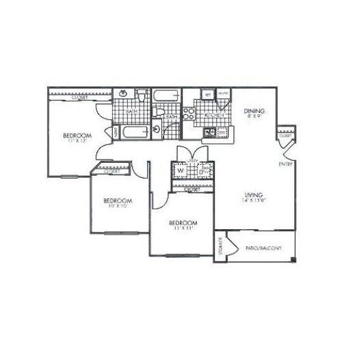 3 bedroom 2 bathroom apartment