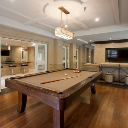Pool table in the modern clubhouse