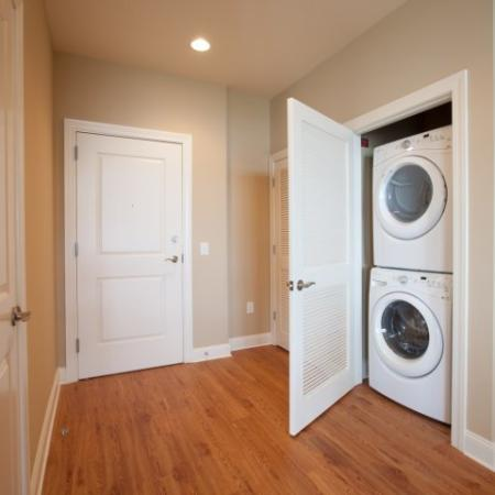 Double washer and dryer in the hallway