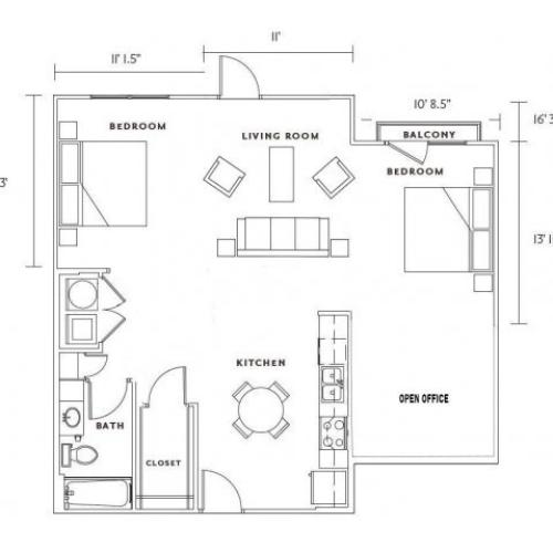 E3 large studio, one bath with dining room and den space