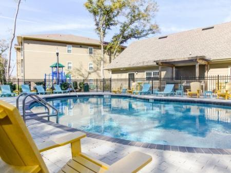 Luxury pool at our Big Oaks Apartments for rent in Lakeland FL