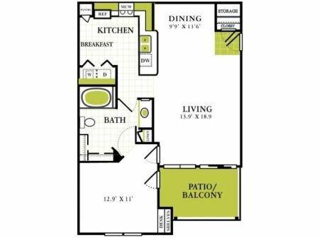 One Bedroom Floorplan | Grapevine Twenty Four 99 1