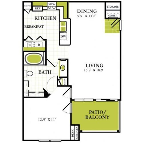 One Bedroom Floorplan | Grapevine Twenty Four 99 1