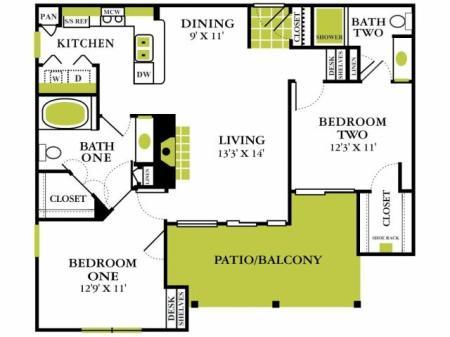 Two Bedroom Floorplan | Grapevine Twenty Four 99