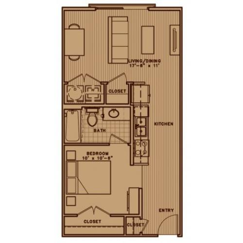 E2 soft one bedroom with open living room concept