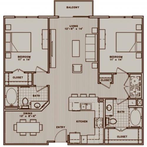 B1 two bedroom, two bathroom with dining room and balcony