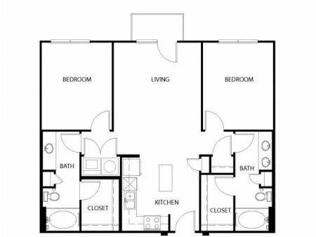 Two bedroom, two bath, kitchen, pantry, coat closet, living/dining room, two walk in closets, linen closet and laundry room. 1328 square feet B1 floor plan.