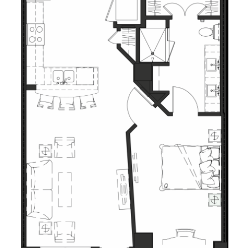 1 Bedroom 1 Bathroom floor plan