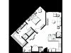 1 Bedroom 1.5 Bathroom floor plan