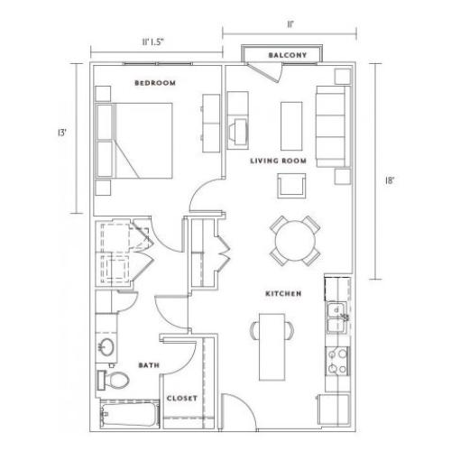 A1 one bedroom, one bath with kitchen island and balcony