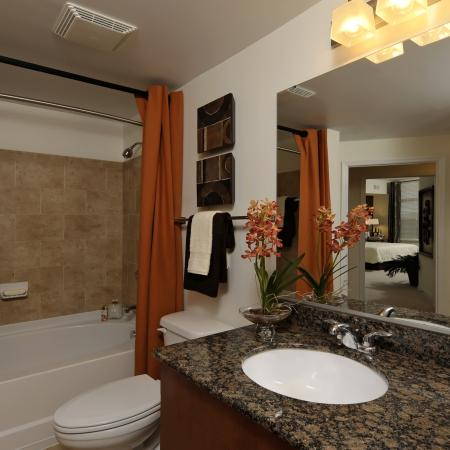 Large bathroom with soaking tub and granite counters