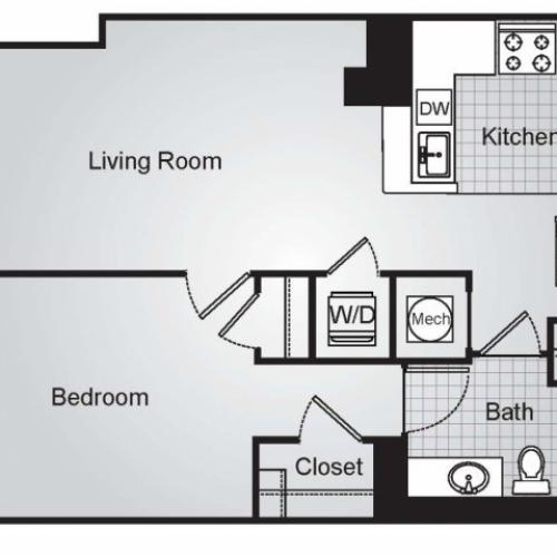 One Bedroom Floor Plans 4 | Apartments For Rent In Arlington VA | Siena Park Apartments
