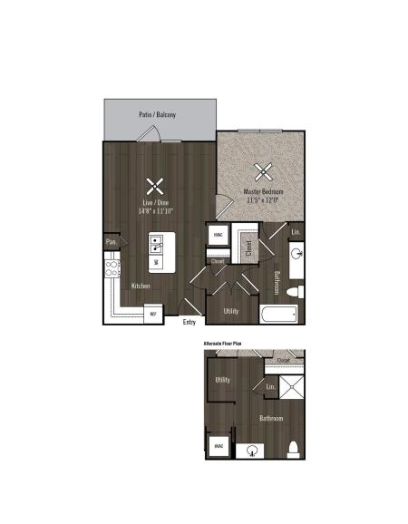 One bedroom, One Bathroom Apartment with kitchen island and hardwood style flooring throughout the apartment, and carpet in the bedroom.