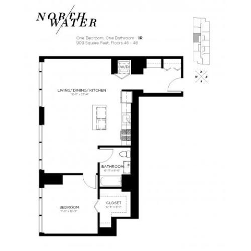 One Bedroom One Bathroom Floor Plan 1R Penthouse