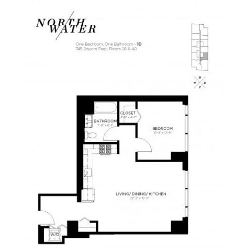 One Bedroom One Bathroom Floor Plan 1D