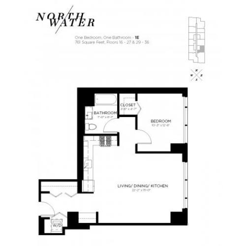 One Bedroom One Bathroom Floor Plan 1E