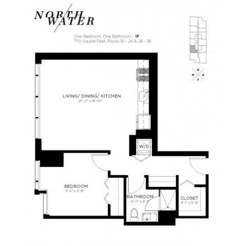 One Bedroom One Bathroom Floor Plan 1F