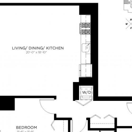 One Bedroom One Bathroom Floor Plan 1I